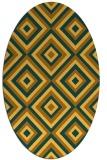 rug #662521 | oval yellow retro rug