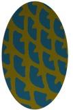 rug #664037 | oval green abstract rug