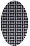 rug #671129 | oval blue-violet check rug