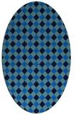 rug #671185 | oval blue check rug