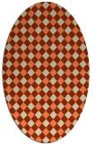 rug #671213 | oval orange check rug
