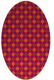 rug #671281 | oval red-orange check rug
