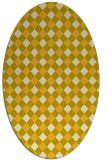 rug #671305 | oval yellow check rug