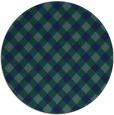 rug #671753 | round blue-green check rug
