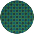 rug #671801 | round blue-green check rug