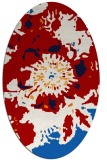 rug #688857 | oval red graphic rug