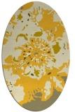 rug #688905 | oval yellow graphic rug