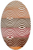 rug #695925 | oval red-orange stripes rug