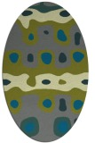 rug #701065 | oval green abstract rug