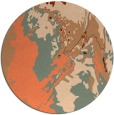 rug #703601 | round red-orange abstract rug