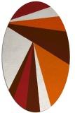 rug #704725 | oval red-orange stripes rug