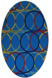 rug #706385 | oval blue retro rug