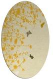 rug #713545   oval yellow graphic rug