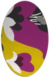 rug #718837 | oval yellow graphic rug