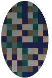 rug #727369 | oval blue graphic rug