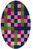 rug #727373 | oval blue retro rug