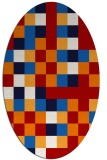 rug #727577 | oval red graphic rug
