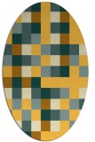 rug #727641 | oval yellow graphic rug