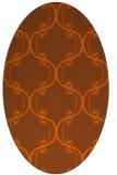 rug #743441 | oval red-orange damask rug