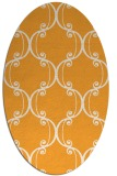 rug #743525 | oval light-orange damask rug