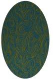rug #769617   oval green abstract rug