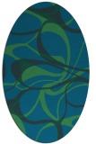 rug #771397   oval blue retro rug