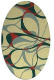 rug #771521 | oval yellow retro rug