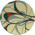 rug #772225 | round yellow retro rug