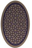 rug #854343 | oval blue-violet borders rug
