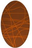 rug #882211 | oval red-orange stripes rug