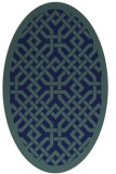 rug #885507 | oval blue borders rug