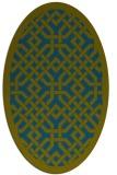 rug #885547 | oval green borders rug