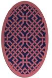 rug #885563 | oval blue-violet borders rug