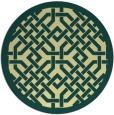 rug #886487   round blue-green borders rug