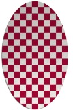 rug #888440 | oval red check rug