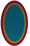 rug #895000 | oval plain blue-green rug