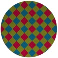 rug #900013 | round blue-green check rug