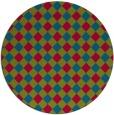 rug #901133 | round blue-green check rug