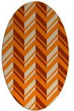 rug #902925 | oval orange stripes rug