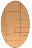 rug #904993 | oval red-orange stripes rug