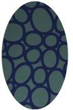 rug #906565 | oval blue abstract rug
