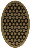 rug #910153   oval mid-brown borders rug