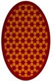 rug #910325 | oval red-orange borders rug