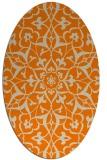 rug #920925 | oval orange damask rug
