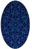 rug #920957 | oval blue damask rug