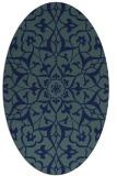 rug #920965 | oval blue damask rug