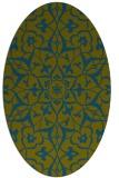 rug #921005 | oval green traditional rug