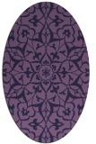 rug #921025 | oval blue-violet damask rug