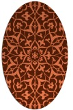 rug #921137 | oval orange damask rug