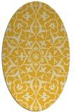 rug #921229 | oval yellow damask rug